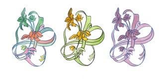 Σύνολο διακοσμητικού nouveau τέχνης λουλουδιών απεικόνισης Watercolor Στοκ εικόνα με δικαίωμα ελεύθερης χρήσης