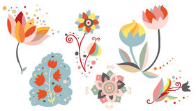 Σύνολο διακοσμητικών λουλουδιών ελεύθερη απεικόνιση δικαιώματος