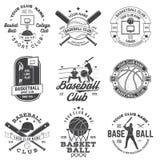Σύνολο διακριτικού καλαθοσφαίρισης και μπέιζ-μπώλ, έμβλημα r Έννοια για το πουκάμισο, την τυπωμένη ύλη, το γραμματόσημο, την ενδυ διανυσματική απεικόνιση