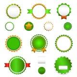 Σύνολο διακριτικών, ετικετών και sticers πώλησης χωρίς κείμενο σε πράσινο Στοκ εικόνα με δικαίωμα ελεύθερης χρήσης