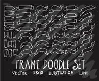 Σύνολο διανυσματικής άσπρης γραμμής εμβλημάτων κορδελλών συλλογής σχεδίων doodle Στοκ Φωτογραφίες
