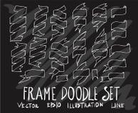 Σύνολο διανυσματικής άσπρης γραμμής εμβλημάτων κορδελλών συλλογής σχεδίων doodle Στοκ φωτογραφίες με δικαίωμα ελεύθερης χρήσης