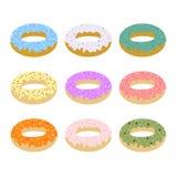 Σύνολο διανυσματικής απεικόνισης εννέα donuts Στοκ φωτογραφίες με δικαίωμα ελεύθερης χρήσης