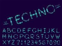 Σύνολο διανυσματικής αφηρημένης πηγής και αλφάβητου διανυσματική απεικόνιση