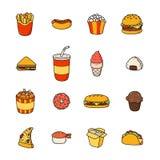 Σύνολο διανυσματικού άχρηστου φαγητού εικονιδίων κινούμενων σχεδίων doodle Απεικόνιση του κωμικού γρήγορου φαγητού Στοκ φωτογραφίες με δικαίωμα ελεύθερης χρήσης