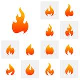 Σύνολο διανυσματικού προτύπου σχεδίου λογότυπων φλογών πυρκαγιάς Σύμβολο εικονιδίων στοκ φωτογραφία