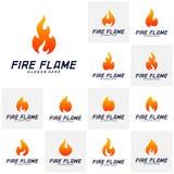 Σύνολο διανυσματικού προτύπου σχεδίου λογότυπων φλογών πυρκαγιάς Σύμβολο εικονιδίων στοκ εικόνα με δικαίωμα ελεύθερης χρήσης