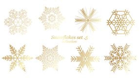 Σύνολο διανυσματικού Snowflakes σχεδίου Χριστουγέννων με το χρυσό χρώμα πολυτέλειας στο άσπρο υπόβαθρο διανυσματική απεικόνιση