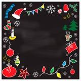 Σύνολο διανυσματικών απεικονίσεων Χριστουγέννων doodle στο υπόβαθρο πινάκων Στοκ Εικόνα
