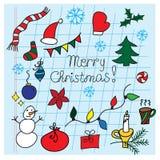 Σύνολο διανυσματικών απεικονίσεων Χριστουγέννων doodle Στοκ φωτογραφίες με δικαίωμα ελεύθερης χρήσης
