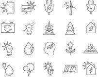 Σύνολο διανυσματικών εικονιδίων γραμμών εναλλακτικής ενέργειας ελεύθερη απεικόνιση δικαιώματος
