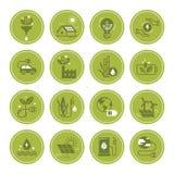 Σύνολο διανυσματικών εικονιδίων καθαρής ενέργειας στο επίπεδο ύφος ελεύθερη απεικόνιση δικαιώματος