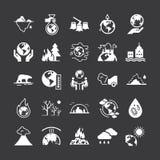 Σύνολο διανυσματικών εικονιδίων στο θέμα της οικολογίας, της σφαιρικών θέρμανσης και των προβλημάτων οικολογίας του πλανήτη μας ελεύθερη απεικόνιση δικαιώματος