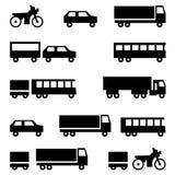 Σύνολο διανυσματικών εικονιδίων - σύμβολα μεταφορών Στοκ Φωτογραφίες