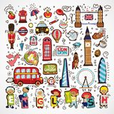 Σύνολο διανυσματικών εικονιδίων του Λονδίνου Συρμένο χέρι εικονίδιο της Αγγλίας doodle Διάσημα αρχιτεκτονικά μνημεία, σημάδι, σύμ διανυσματική απεικόνιση