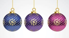 Σύνολο διανυσματικών ζωηρόχρωμων σφαιρών Χριστουγέννων με τις διακοσμήσεις η συλλογή απομόνωσε τις ρεαλιστικές διακοσμήσεις Διανυ διανυσματική απεικόνιση