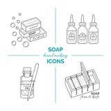 Σύνολο διανυσματικών λεπτών εικονιδίων γραμμών της χειροποίητης παραγωγής σαπουνιών Στοκ Εικόνες