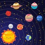 Σύνολο διανυσματικών πλανητών εικονιδίων κινούμενων σχεδίων doodle του ηλιακού συστήματος Κωμικοί έγχρωμοι αστείοι χαρακτήρες Εκπ διανυσματική απεικόνιση