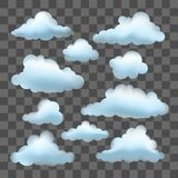 Σύνολο διανυσματικών σύννεφων στο διαφανές υπόβαθρο επίδρασης Στοκ Φωτογραφία