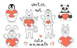 Σύνολο 6 διανυσματικών χαρακτήρων των διαφορετικών χαριτωμένων ζώων απεικόνιση αποθεμάτων