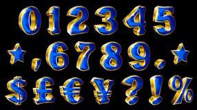 Σύνολο διανυσματικών χρυσών αριθμών και συμβόλων νομίσματος στο μαύρο υπόβαθρο ελεύθερη απεικόνιση δικαιώματος