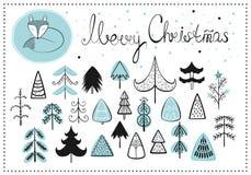 Σύνολο διανύσματος cliparts για το σχέδιό σας νέο έτος Χριστουγέννων όμορφο διάνυσμα δέντρων απεικόνισης Χριστουγέννων Στοκ φωτογραφία με δικαίωμα ελεύθερης χρήσης
