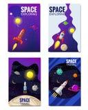 Σύνολο διαστημικού προτύπου, διαστημικό ταξίδι, εξερεύνηση του κόσμου, άλλοι πλανήτες, πετώντας πύραυλοι, αστέρια απόμακρου ελεύθερη απεικόνιση δικαιώματος