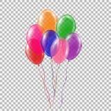 Σύνολο διαφανούς ζωηρόχρωμου μπαλονιού ηλίου Στοκ Εικόνα