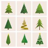 Σύνολο διαφορετικού, χριστουγεννιάτικα δέντρα Μπορέστε να χρησιμοποιηθείτε για τη ευχετήρια κάρτα, πρόσκληση, έμβλημα, σχέδιο Ιστ διανυσματική απεικόνιση
