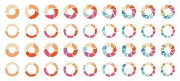 Σύνολο διαφορετικών διαγραμμάτων πιτών με τα αναδρομικά χρώματα βελών ελεύθερη απεικόνιση δικαιώματος