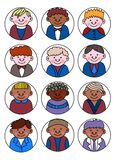 Σύνολο διαφορετικών ειδώλων παιδιών, απλό επίπεδο ύφος κινούμενων σχεδίων χαριτωμένος και Στοκ φωτογραφία με δικαίωμα ελεύθερης χρήσης