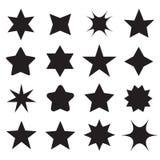 Σύνολο διαφορετικών εικονιδίων αστεριών μορφής για το σχέδιο διανυσματική απεικόνιση