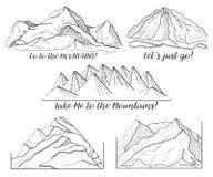 Σύνολο διαφορετικών εικόνων με τα βουνά Στοκ Εικόνα
