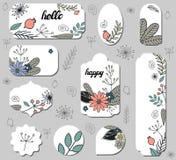 Σύνολο διαφορετικών ετικετών με τα λουλούδια, dogrose και τα φύλλα doodle απεικόνιση αποθεμάτων