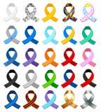 Σύνολο διαφορετικών ζωηρόχρωμων συμβολικών κορδελλών απεικόνιση αποθεμάτων