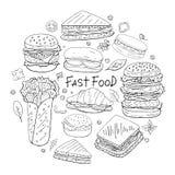 Σύνολο διαφορετικών στοιχείων γρήγορου φαγητού στη μορφή κύκλων στο άσπρο υπόβαθρο διανυσματική απεικόνιση