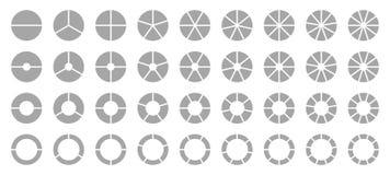 Σύνολο διαφορετικών στρογγυλών γραφικών διαγραμμάτων πιτών γκρίζων απεικόνιση αποθεμάτων