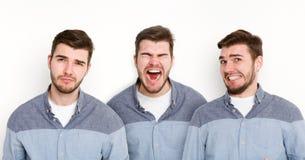 Σύνολο διαφορετικών συγκινήσεων νεαρών άνδρων στο άσπρο υπόβαθρο στούντιο Στοκ φωτογραφία με δικαίωμα ελεύθερης χρήσης