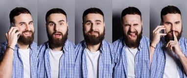Σύνολο διαφορετικών συγκινήσεων νεαρών άνδρων στο γκρίζο υπόβαθρο στούντιο Στοκ εικόνες με δικαίωμα ελεύθερης χρήσης