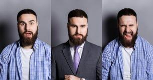 Σύνολο διαφορετικών συγκινήσεων νεαρών άνδρων στο γκρίζο υπόβαθρο στούντιο Στοκ φωτογραφία με δικαίωμα ελεύθερης χρήσης