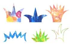 Σύνολο διαφορετικών τύπων κορωνών με τη σύσταση watercolor των διαφορετικών χρωμάτων ελεύθερη απεικόνιση δικαιώματος