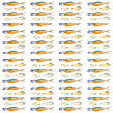 Σύνολο διαφορετικών τύπων ψαριών Απεικόνιση Watercolor που απομονώνεται στο άσπρο υπόβαθρο πρότυπο άνευ ραφής ελεύθερη απεικόνιση δικαιώματος