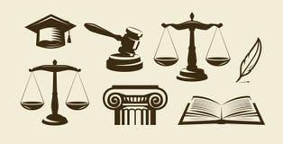 Σύνολο δικαιοσύνης εικονιδίων Δικηγόρος, συνήγορος, σύμβολο νόμου επίσης corel σύρετε το διάνυσμα απεικόνισης διανυσματική απεικόνιση