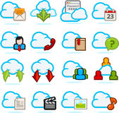 σύνολο δικτύων εικονιδίων σύννεφων Στοκ φωτογραφίες με δικαίωμα ελεύθερης χρήσης