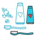 Σύνολο δοντιών καθαρισμού οδοντόπαστας και οδοντόβουρτσας Έννοια για τα σύμβολα οδοντιατρικής παιδιών ` s Απεικόνιση που απομονών Στοκ εικόνα με δικαίωμα ελεύθερης χρήσης