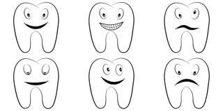 Σύνολο δοντιών κινούμενων σχεδίων, οι τραπεζίτες με τις συγκινήσεις στο πρόσωπο, το διανυσματικούς κωμικούς χαμόγελο δοντιών, το  διανυσματική απεικόνιση