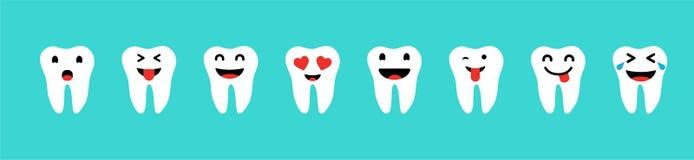 Σύνολο δοντιών με τις συγκινήσεις στο άσπρο χρώμα στο μπλε υπόβαθρο Ευτυχή δόντια καθορισμένα Εικονίδια δοντιών ελεύθερη απεικόνιση δικαιώματος