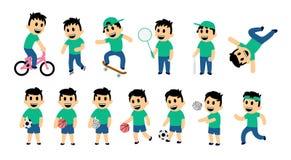 Σύνολο δραστηριότητας οδών και αθλητισμού παιδιών Το αστείο αγόρι στη διαφορετική δράση θέτει Επίπεδη διανυσματική απεικόνιση Απο Απεικόνιση αποθεμάτων