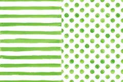 Σύνολο δύο άνευ ραφής σχεδίων watercolor, πράσινο χρώμα Στοκ Εικόνες