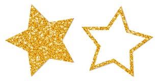 Σύνολο δύο χρυσού σπινθηρίσματος αστεριών που γεμίζουν και πλαισίου διανυσματική απεικόνιση